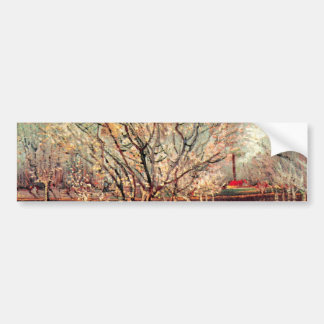 Van Gogh Orchard in Blossom Vintage, Fine Art Bumper Sticker