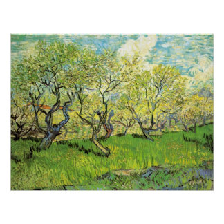 Van Gogh Orchard in Blossom, Vintage Fine Art Poster