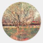 Van Gogh Orchard in Blossom Vintage Impressionism Round Stickers