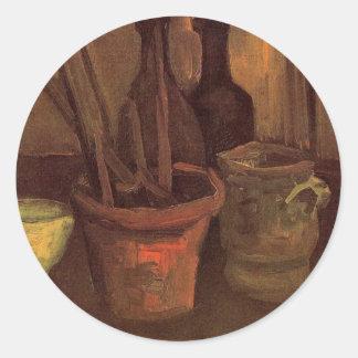 Van Gogh Paintbrushes in a Pot, Vintage Still Life Round Sticker