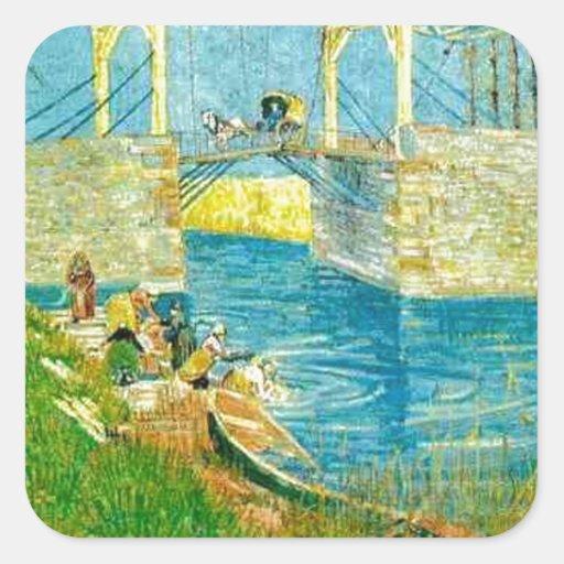 Van Gogh Painting Langlois Brige at Arles Square Sticker