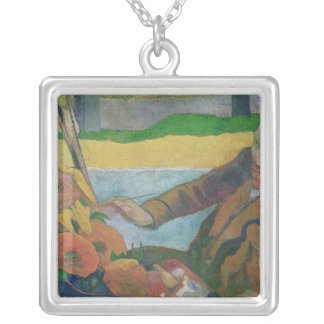 Van Gogh painting Sunflowers, 1888 Silver Plated Necklace