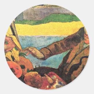 Van Gogh Painting Sunflowers By Paul Gauguin Round Stickers