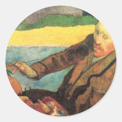 Van Gogh Painting Sunflowers - Paul Gauguin Round Sticker