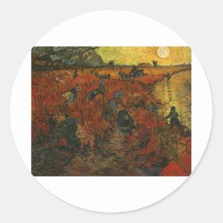 Van Gogh Painting: The Red Vineyard Round Stickers