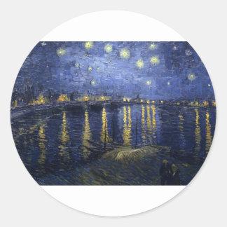 Van Gogh Paintings: Starry Night Van Gogh Rhone Round Sticker