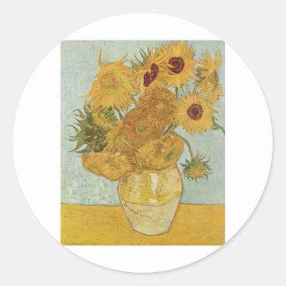 Van Gogh Paintings: Van Gogh Sunflowers Round Sticker