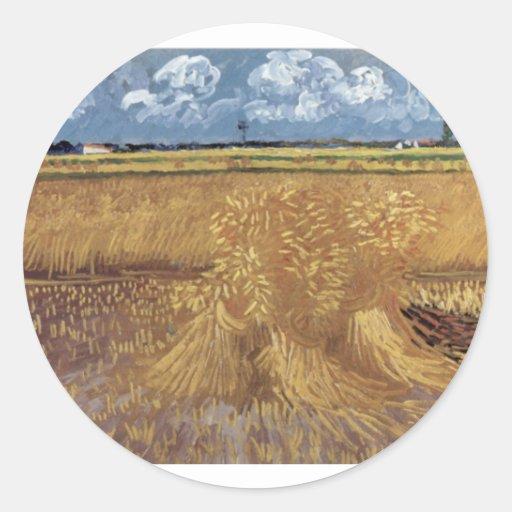 Van Gogh Paintings: Van Gogh Wheat Field Round Sticker
