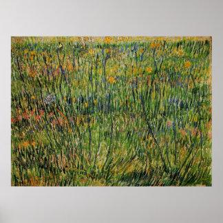Van Gogh Pasture in Bloom, Vintage Nature Fine Art Poster