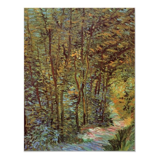 Van Gogh Path in the Woods, Vintage Fine Art 11 Cm X 14 Cm Invitation Card