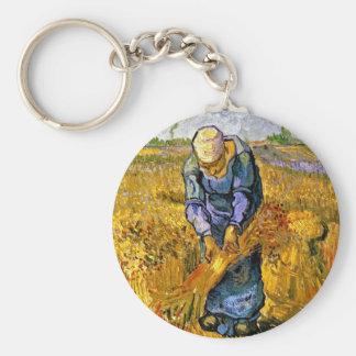 Van Gogh - Peasant Woman Binding Sheaves Basic Round Button Keychain
