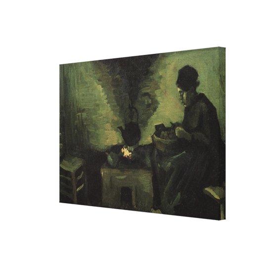 Van Gogh; Peasant Woman by Fireplace, Vintage Art