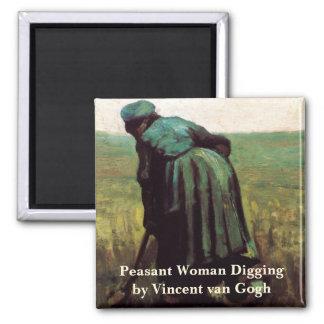 Van Gogh, Peasant Woman Digging, Vintage Farmer Magnets