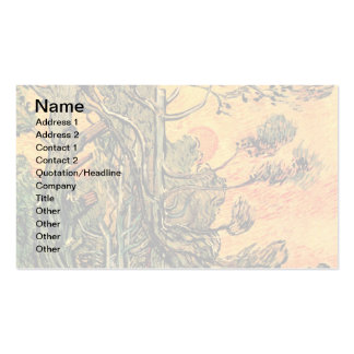 Van Gogh - Pine Trees Against A Red Sky Business Cards