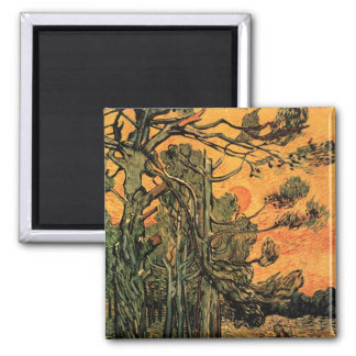 Van Gogh Pine Trees Against Red Sky w Setting Sun Magnet