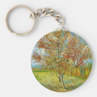 Van Gogh Pink Peach Tree in Blossom, Fine Art Key Ring