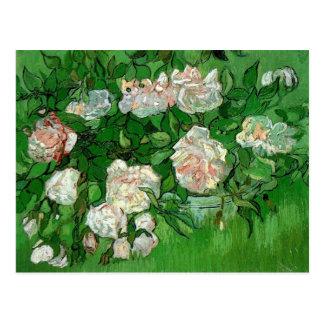 Van Gogh Pink Rose Flowers, Vintage Still Life Art Postcard