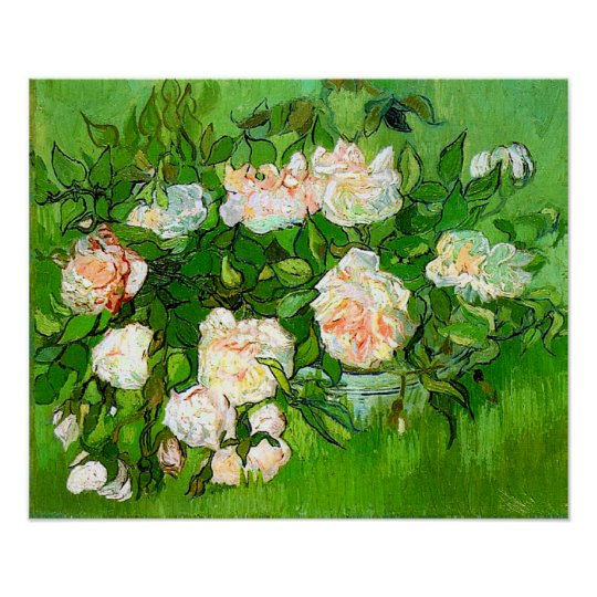 Van gogh pink roses poster zazzle van gogh pink roses poster mightylinksfo