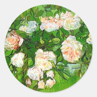Van Gogh Pink Roses Stickers
