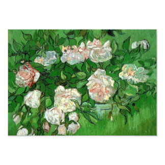Van Gogh Pink Roses, Vintage Garden Fine Art 13 Cm X 18 Cm Invitation Card