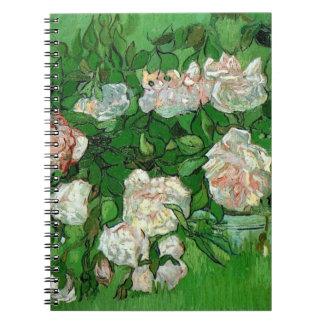 Van Gogh Pink Roses, Vintage Garden Fine Art Notebook