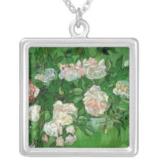 Van Gogh Pink Roses, Vintage Garden Fine Art Silver Plated Necklace