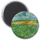 Van Gogh Plain Near Auvers, Vintage Impressionism 6 Cm Round Magnet
