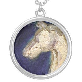 Van Gogh - Plaster Statuette Of A Horse Round Pendant Necklace