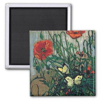 Van Gogh Poppies and Butterflies F748 Fine Art Refrigerator Magnets