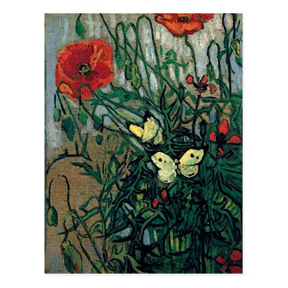Van Gogh Poppies and Butterflies (F748) Fine Art Post Cards