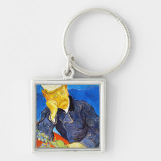 Van Gogh | Portrait of Dr. Gachet Silver-Colored Square Keychain
