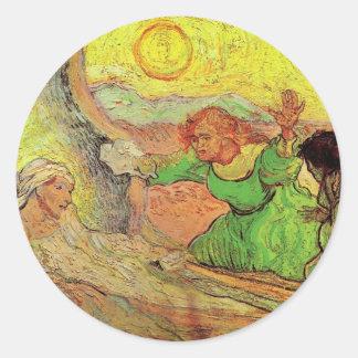 Van Gogh; Raising of Lazarus, Vintage Religion Round Sticker