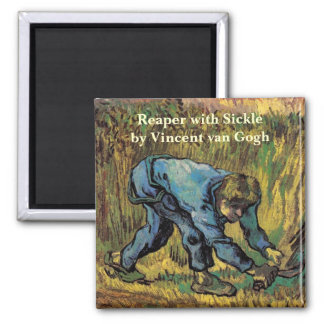 Van Gogh; Reaper with Sickle, Vintage Farmer Square Magnet