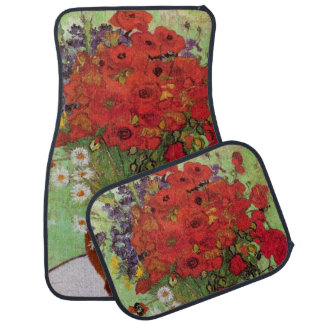 Van Gogh Red Poppies and Daisies, Fine Art Flowers Floor Mat