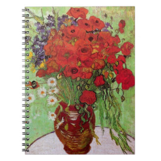Van Gogh Red Poppies and Daisies, Fine Art Flowers Notebooks