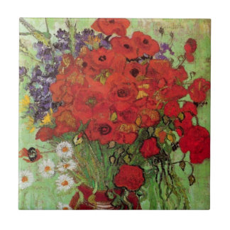 Van Gogh Red Poppies and Daisies, Fine Art Flowers Small Square Tile