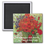 Van Gogh Red Poppies and Daisies, Fine Art Flowers Square Magnet