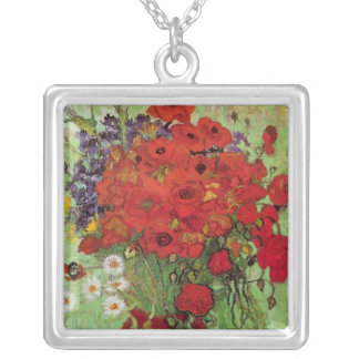 Van Gogh Red Poppies and Daisies, Fine Art Flowers Square Pendant Necklace