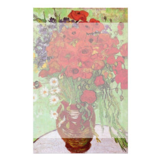 Van Gogh Red Poppies and Daisies, Fine Art Flowers Stationery