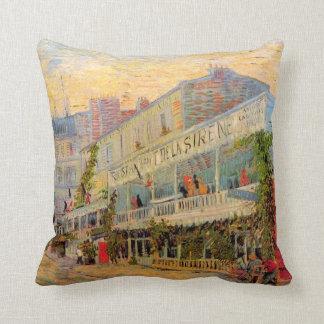 Van Gogh Restaurant la Sirene, Asnieres, Fine Art Cushion