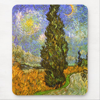 Van Gogh: Road with Cypress and Star Mouse Mat