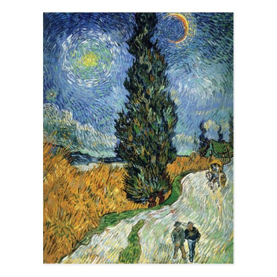 Van Gogh Road With Cypresses Postcard