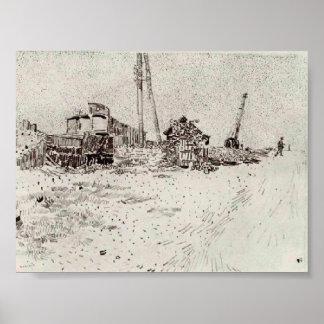 Van Gogh - Road with Telegraph Pole and Crane Print