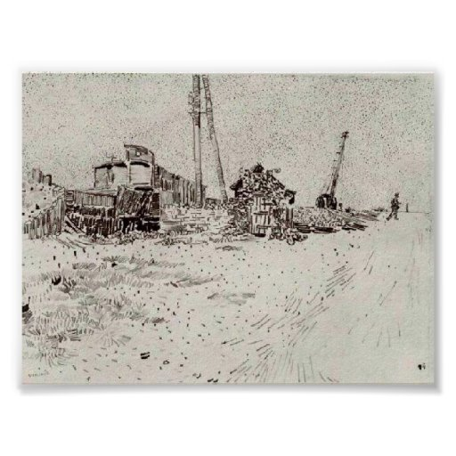 Van Gogh - Road with Telegraph Pole and Crane Print