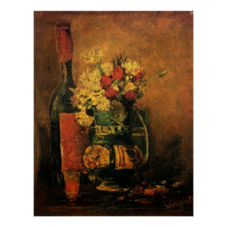 Van Gogh Romantic Fine Art with Roses and Wine Poster