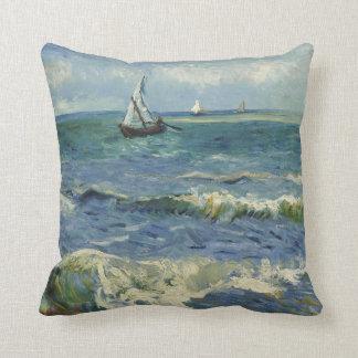 Van Gogh Seascape at Saintes Maries de la Mer Throw Pillow