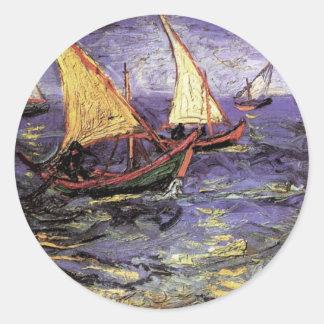 Van Gogh Seascape at Saintes Maries, Fine Art Round Sticker