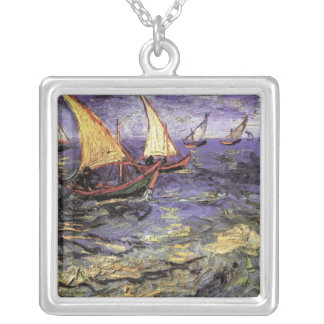 Van Gogh Seascape at Saintes Maries, Fine Art Square Pendant Necklace