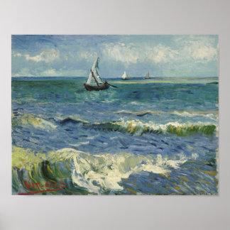 Van Gogh Seascape at Saintes-Maries Fine Vintage Poster
