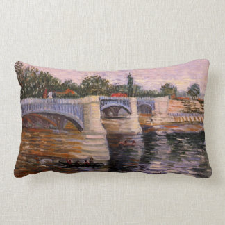 Van Gogh Seine Pont del Grande Jette, Fine Art Lumbar Cushion